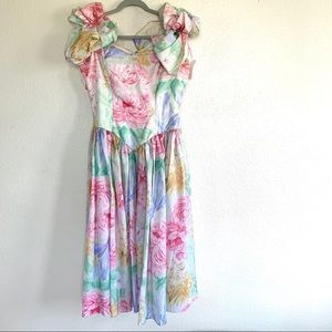 Vintage 80s Puff Sleeve Floral Midi Swing Dress